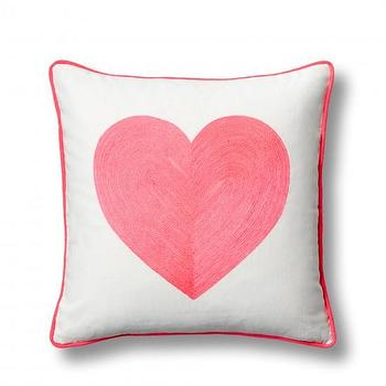 Pillows - Embroidered Neon Heart Pillow Cover I C. Wonder - pink heart pillow, embroidered heart pillow, pink embroidered heart pillow,