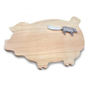 Decor/Accessories - This Little Pig Cheese Board with Spreader I C. Wonder - pig cheese board, pig shaped cheese board, piggy shaped cheeseboard with spreader,