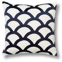 Pillows - Embroidered Wave Pillow Cover | C. Wonder - navy and white wave pillow cover, navy and white fish scale pillow, navy and white scallop patterned pillow,