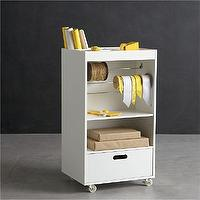 Storage Furniture - Wrapping Cart in Utility | Crate and Barrel - wrapping cart, white wrapping cart, wrapping station,