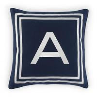 Pillows - Monogram Pillow Cover - A - 16X16 | C. Wonder - monogrammed pillow cover, navy and white monogrammable pillow cover, navy and white monogrammed pillow cover,