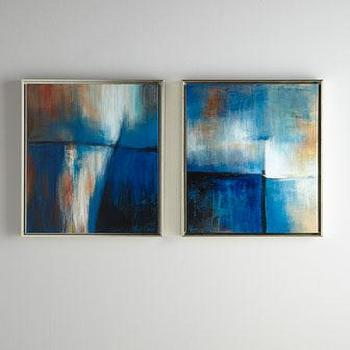 Art/Wall Decor - Rosenbaum Fine Art Serenity Paintings I Horchow - blue abstract art, abstract art, floating frame abstract art,