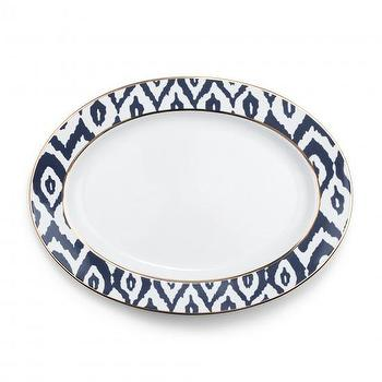 Decor/Accessories - Ikat Oval Serving Platter | C. Wonder - ikat oval serving platter, navy and white ikat platter, navy and white ikat serving platter,