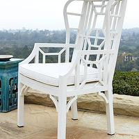 Seating - White Chinoiserie Outdoor Wing Chair I Horchow - white chinoiserie wing chair, white chinoiserie outdoor wing chair, outdoor chinoiserie wing chair,