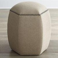 Seating - Lexie Hexagon Ottoman I Horchow - hexagonal ottoman, hexagonal shaped ottoman with nailhead trim, hexagon ottoman with nailhead trim,