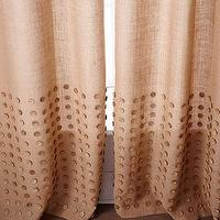 Window Treatments - Button Detailed Burlap Curtains I Horchow - burlap curtains, burlap drapes, burlap curtains with button detail, burlap drapes with button detail,