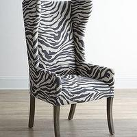 Seating - Kayla Zebra Print Wingback Chair I Horchow - zebra print wingback chair, zebra print chair, zebra print wingchair,