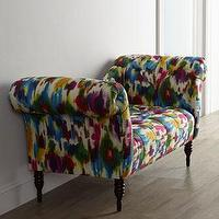 Seating - Lizette Settee Furniture I Horchow - recamier settee, pop art recamier settee, multi-colored recamier settee,