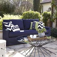 Seating - Elena Outdoor Sofa I Horchow - navy blue outdoor sofa, outdoor sofa, transitional outdoor sofa,