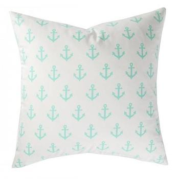 Pillows - MINT ANCHORS AWAY PILLOW I Caitlin Wilson Textiles: - white pillow with mint anchors, mint and white anchors pillow, nautical pillow, anchors pillow,