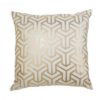 Pillows - GOLD HONG KONG PILLOW I Caitlin Wilson Textiles - gold and white pillow, gold and white geometric pillow, gold foil geometric pillow,