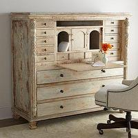 Storage Furniture - Charlotte Desk I Horchow - distressed desk, distressed storage desk, distressed patina desk,