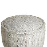 Seating - Leather Pouf | Calypso St. Barth - braided leather pouf, gray and silver braided leather pouf, gray leather braided pouf,