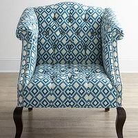 Seating - Haute House Admiral Chair I Horchow - diamond pattern blue chair, diamond-patterned blue chair, admiral chair, blue diamond-patterned admiral chair,