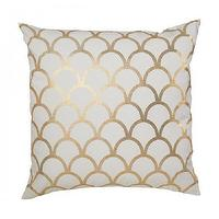 Pillows - GOLD SCALLOP PILLOW I Caitlin Wilson Textiles - gold and white pillow, gold and white fishscale pillow, gold and white scallop pillow,