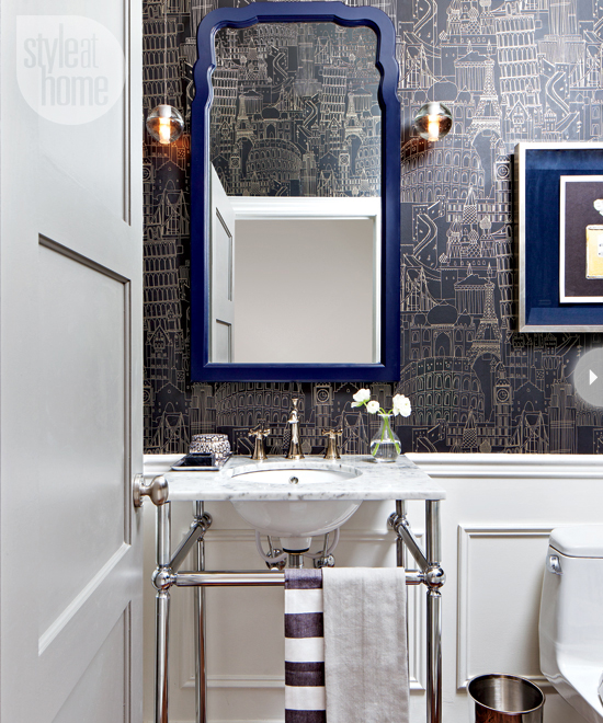 Great expectations wallpaper contemporary bathroom for Wallpaper home hardware