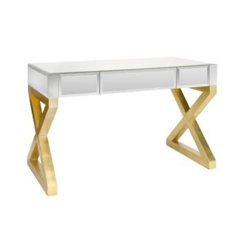 Tables - Barbara Mirrored Desk | Shop Ten 25 - mirrored desk, gold based mirrored desk, gold leafed x based mirrored desk,