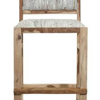 Seating - Sandstone Leather Bar Chair | Calypso St. Barth - rustic bar chair, woven leather bar chair, woven leather wood framed bar chair,