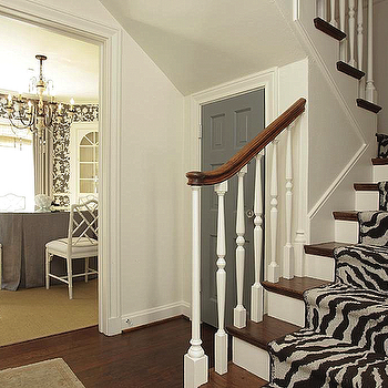 Zebra Stair Runner, Transitional, entrance/foyer, Chandos Interiors