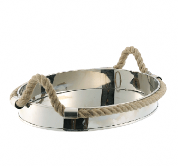 Decor/Accessories - Oval Metal Rope Tray | Shop Ten 25 - oval metal rope tray, rope handled tray, silver oval tray rope handle tray,