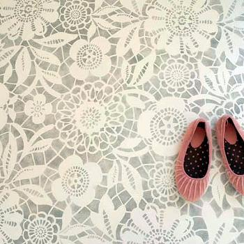 My Marrakesh - entrances/foyers - stenciled floor, concrete floor, stenciled floor, stenciled concrete floor, lace stenciled floor,  Stunning