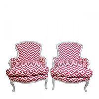 Seating - Zigzag Bergeres I Furbish - pink and white chevron bergere chair, pink and white zig zag bergere chair, pink and white chevron print arm chair,
