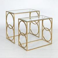 Tables - Lee Gold Leaf Nesting Tables | Shop Ten 25 - gold leaf nesting tables, gold leaf nesting tables with glass top, glass topped modern gold nesting tables,