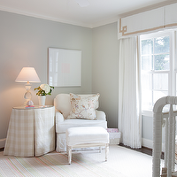 Ashley Goforth Design - nurseries: chic nursery, chic girls nursery, girls nursery, girls nursery design, gray walls, gray nursery walls, nursery valance, greek key valance, valance with greek key trim, white curtains, white drapes, nursery curtains, nursery drapes, nursery window panels, nursery window treatments, nursery glider, slipcovered glider, white nursery glider, white slipcovered glider, french ottoman, skirted table, gingham table, gingham skirted table, skirted gingham table, baluster table lamp, crystal baluster lamp, pastel rug, nursery rug, striped rug, pastel striped rug, pastel nursery rug, pastel striped rug, floral pillow,