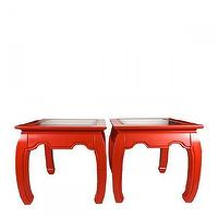 Tables - Bright Ming Tables, Pair - Furbish - red ming tables, red ming side tables, vintage red ming side tables,