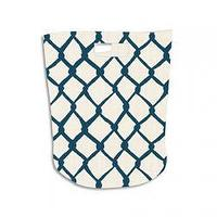 Decor/Accessories - Chain Link Hamper Blue I The Cross Design - blue and white chain link hamper, blue and white chain link laundry hamper, blue and white chain link toy hamper,