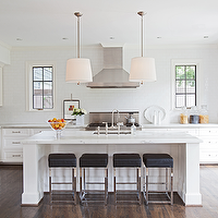 Ashley Goforth Design - kitchens - drum pendants, drum light pendants, linen drum pendants, kitchen island lighting, chrome bar stools, chrome counter stools, black bar stools, black counter stools, backless bar stools, backless counter stools, black backless bar stool, black backless counter stool, black leather bar stool, black leather counter stool, black leather chrome bar stool, black leather chrome counter stool, calcutta marble island, calcutta marble kitchen island, white cabinets, white kitchen cabinets, subway tile kitchen, subway tile backsplash, stainless steel appliances, black double doors, glass paned doors,