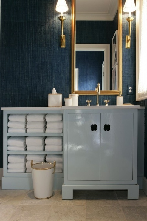 Teal Grasscloth, Contemporary, bathroom, Drake Design Associates