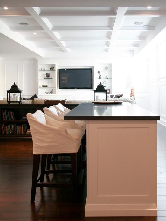 Slipcovered Bar Stools Transitional Kitchen Staples Design Group
