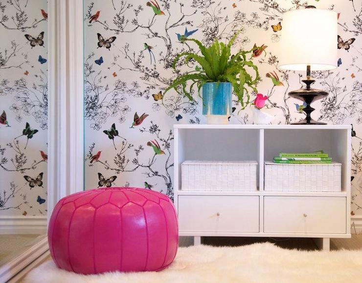 Schumacher Birds And Butterflies Wallpaper Contemporary Girl 39 S Room