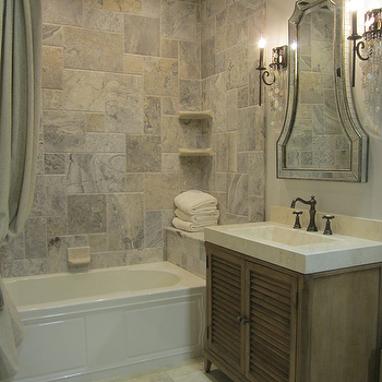 bathrooms - tile from the Tile Shop, vanity from Ambella Home, silver travertine tile, silver travertine tile shower,  Traditional bathroom with