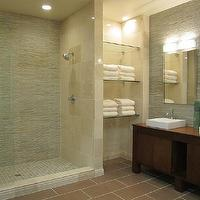 bathrooms - tile from the tile shop, double vanity, slate mosaic tile,  modern bathroom with slate mosaic and marble on the walls, ceramic flooring,