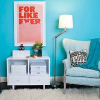 JAC Interiors - girl&#039;s rooms - Cox Paint - Diamonds Are Not Forever - pink and turquoise girls bedroom, modern white storage, white storage shelf, white woven boxes, storage boxes, modern framed print, turquoise walls, turquoise wall color, hardwood floors, dark hardwood floors, white trim, white baseboards, black hardwood floors, shag rug, adjustable floor lamp, blue tasseled throw, blue pom pom tasseled throw, love pillow, striped blue wing chair, striped blue wing back chair, Jonathan Adler Victorian Love Pillow, Super Rural For Like Ever Print, turquoise girls room, turquoise blue girls room, turquoise girls bedroom, turquoise blue girls bedroom, turquoise walls, turquoise blue walls, turquoise blue walls, turquoise blue paint colors, turquoise chair, turquoise blue chair, turquoise tufted chair, turquoise blue tufted chair, turquoise wingback chair, turquoise blue wingback chair,
