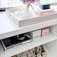 Style at Home - bedrooms - bedroom shoe shelf, wood tray, pink accents, bedroom pink accents, pink accents bedroom, pink accents, shoe shelf,