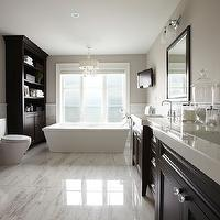 Parkyn Design - bathrooms - espresso vanity, double vanity, master bathroom, his and hers sinks, dual sinks, double bathroom vanity, marble tiled floors, marble counters, marble countertops, espresso framed mirrors, gooseneck faucet, frosted glass double sconces, bathroom tv, bathroom television, mini marble mosaic border, pale greige walls, greige walls, greige bathroom walls, marble tiled bathroom, marble bathroom, master bath, rectangular tub, rectangular bath, rectangular soaking tub, contemporary bath tub, frosted glass window, toilet, built-ins, bathroom built-ins, espresso stained built-ins, bathroom storage, bathroom cabinets, recessed lighting, pot lights, contemporary drum chandelier, drum chandelier, espresso double vanity, espresso vanity with white countertop, espresso vanity with white marble countertop, espresso cabinets with white countertops, espresso cabinets with white marble countertops, espresso bathroom cabinets with white countertops, espresso bathroom cabinets with white marble countertops,