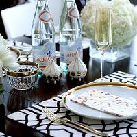 Erika Brechtel - dining rooms - tablescape, chic tablescape, trellis placemats, black and white placemats, black and white trellis placemats, gold flatware, salt and pepper shakers, jonathan adler salt and pepper shakers, futura slat and pepper shakers,