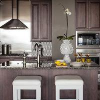 Pieces Inc - kitchens - chocolate brown cabinets, chocolate brown kitchen cabinets, stained cabinets, stained kitchen cabinets, brown kitchen cabinets, granite countertops, granite counters, granite kitchen countertops, stainless steel backsplash, stainless steel tile kitchen, chocolate brown kitchen island, granite top kitchen island, kitchen island sink, backless bar stools, backless counter stools, white bar stools, white counter stools, white backless bar stools, white backless counter stools, contemporary kitchen,