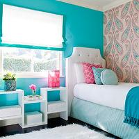 JAC Interiors - girl&#039;s rooms - Cox Paint - Diamonds Are Not Forever - turquoise and pink girls bedroom, shag carpet, shag rug, turquoise wall, turquoise wall color, paisley wallpaper, pink and turquoise paisley wallpaper, wallpapered accent wall, accent wall, bedroom accent wall, blue tasseled throw, blue pom pom tasseled throw, oversized paisley wallpaper, white coverlet, pink trellis pillow, round turquoise pillow, square turquoise pillow, turquoise bed skirt, white headboard, shag rug, white shag rug, white upholstered headboard, white upholstered headboard with button tufting, white headboard with turquoise button tufting, white floor shelf, modern white floor shelf, dark hardwood floors, hardwood floors, black hardwood floors, white roman blind, white roman blind with turquoise border, turquoise and white roman blind, pink table lamp, Osborne and Little Nizam Wallpaper, turquoise girls room, turquoise blue girls room, turquoise girls bedroom, turquoise blue girls bedroom, turquoise walls, turquoise blue walls, turquoise blue walls, turquoise blue paint colors,