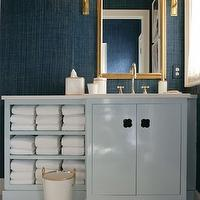 Drake Design Associates - bathrooms: blue bathroom, teal grasscloth, teal grasscloth wallpaper, phillip jeffries wallpaper, phillip jeffries grasscloth, antiqued burnished brass sconce, gold mirror, lacquer vanity, blue lacquer vanity, blue vanity, blue bathroom vanity, blue lacquer bathroom vanity, blue lacquer cabinets, blue lacquer bathroom cabinets, towel cabinet, built in towel cabinet, gray countertops, gray bathroom countertop,