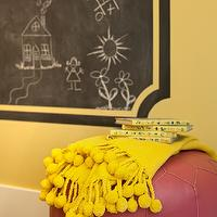Rustic Rooster Interiors - girl&#039;s rooms - yellow walls, yellow wall color, pink moroccan pouf, moroccan leather pouf, moroccan pouf, chalkboard, chalkboard paint, chalkboard accent wall, chalkboard framed chalkboard, yellow throw, bright yellow throw, pom pom tasseled yellow throw, yellow pom pom throw, yellow throw, yellow throw blanket,
