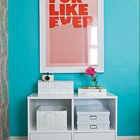 JAC Interiors - girl&#039;s rooms - Cox Paint - Diamonds Are Not Forever - modern white storage, white storage shelf, white woven boxes, storage boxes, modern framed print, turquoise walls, turquoise wall color, hardwood floors, dark hardwood floors, white trim, white baseboards, black hardwood floors, shag rug, Super Rural For Like Ever Print, turquoise girls room, turquoise blue girls room, turquoise girls bedroom, turquoise blue girls bedroom, turquoise walls, turquoise blue walls, turquoise blue walls, turquoise blue paint colors, turquoise wall paint, turquoise blue wall paint,