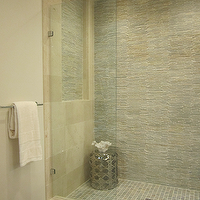 bathrooms - tile from the Tile Shop, double vanity, slate mosaic tile, slate mosaic tile shower,  modern bathroom with slate mosaic and marble