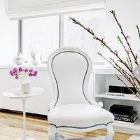 Style at Home - bedrooms: white bedroom, french chair, white french chair, nailhead chair, studded chair, nailhead french chair, studded french chair, marble saarinen side table, gray rug, gray shag rug,