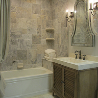 The Tile Shop - bathrooms - tile from the Tile Shop, vanity from Ambella Home, silver travertine tile, silver travertine tile shower,  Traditional