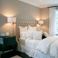 Staples Design Group - bedrooms - Benjamin Moore - Pashmina - taupe walls, taupe wall color, hardwood floors, dark hardwood floors, black bombe chest, bombe chest, black bombe nightstand, glass table lamp, glass lamp with drum shade, button tufted headboard, diamond button tufted headboard, diamond button tufted headboard with nailhead trim, white bedding, white bed linens, white pillows, white bed skirt, white duvet, white folded duvet, white curtains, white cotton curtains, white drapes, white cotton drapes, crown molding, recessed lighting, pot lights, black pinstriped rug, beige headboard, beige tufted headboard, beige wingback headboard, beige headboard,