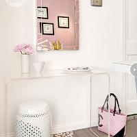 Style at Home - entrances/foyers - white and pink foyer, pink accents, foyer, foyer with pink accents, pink accents foyer, west elm mirror, acrylic console table, foyer table, acrylic foyer table, moroccan stool, white moroccan stool, medallion stencil floor, stencil floor, stenciled floor, stenciled wood floor, floor stencils, medallion stencils, entrance, chanel bag, pink chanel bag, pink and black chanel bag,